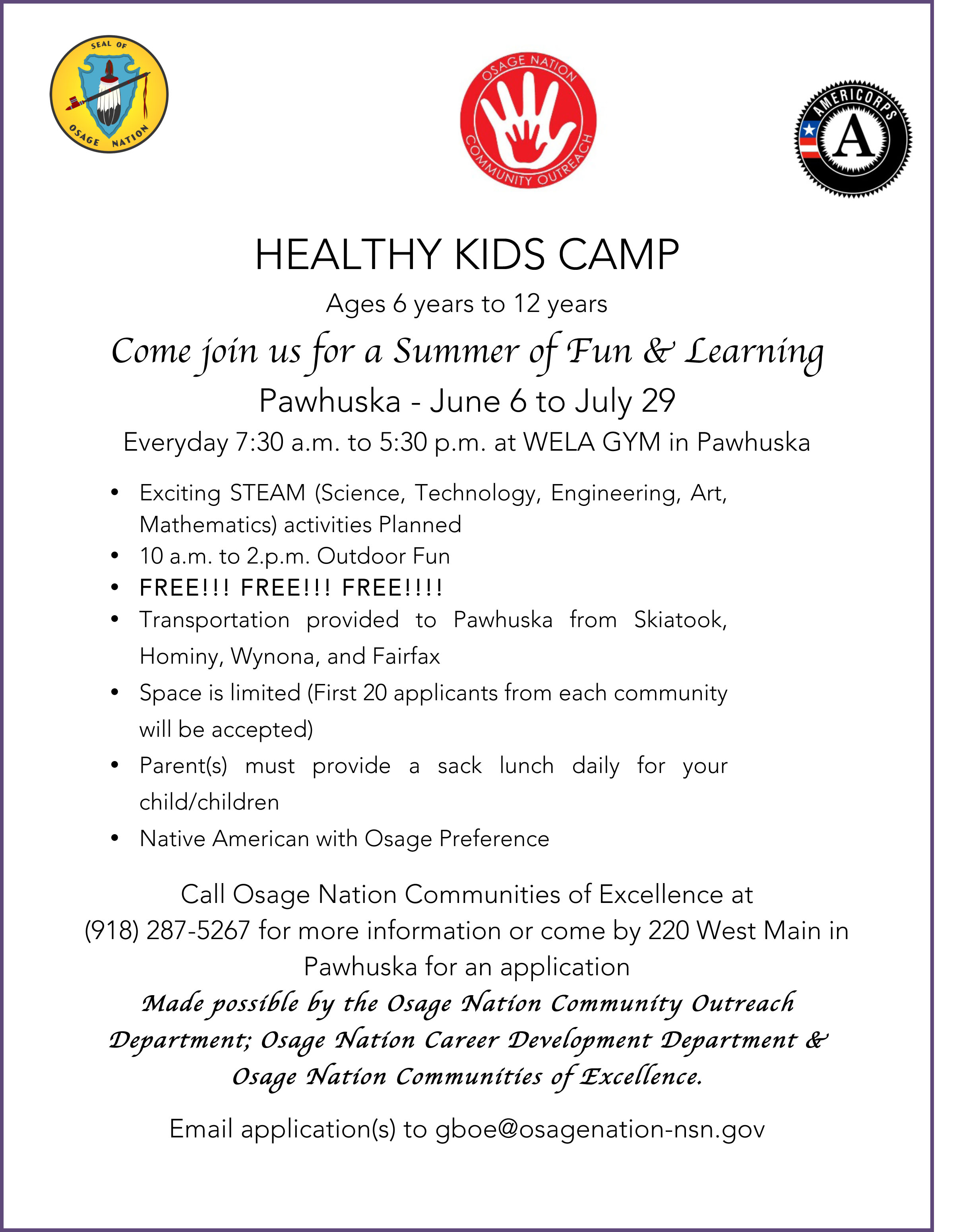 Communities of Excellence to host free Healthy Kids Camp June 6 to July 29