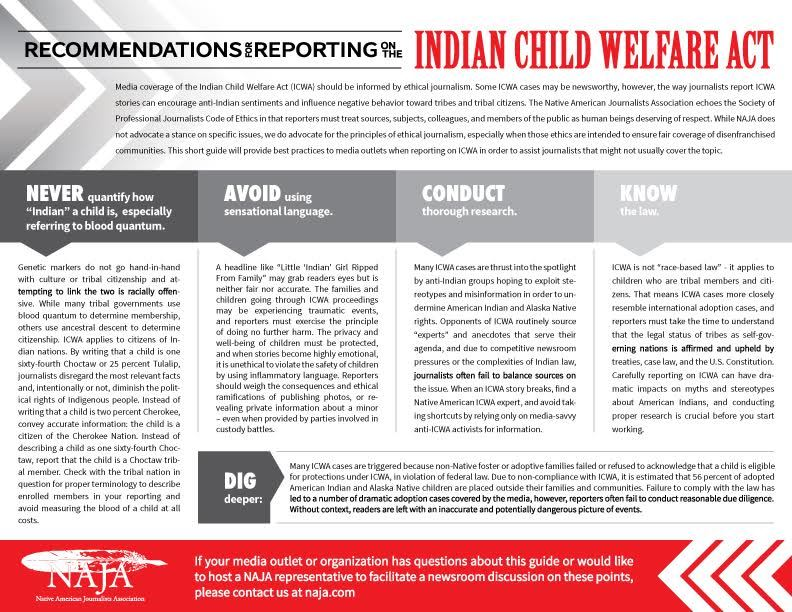 NAJA releases media guide to covering ICWA