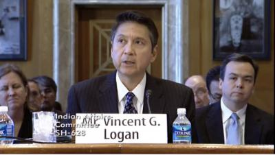 Logan answers questions from Senate Committee on Indian Affairs