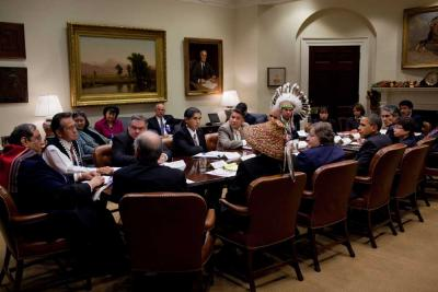 Chief Red Eagle meets with President Barack Obama