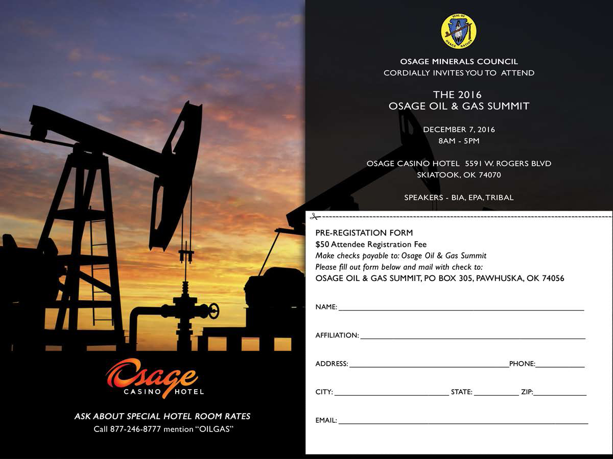 Oil and Gas Summit set for Dec. 7 at Osage Casinos-Skiatook