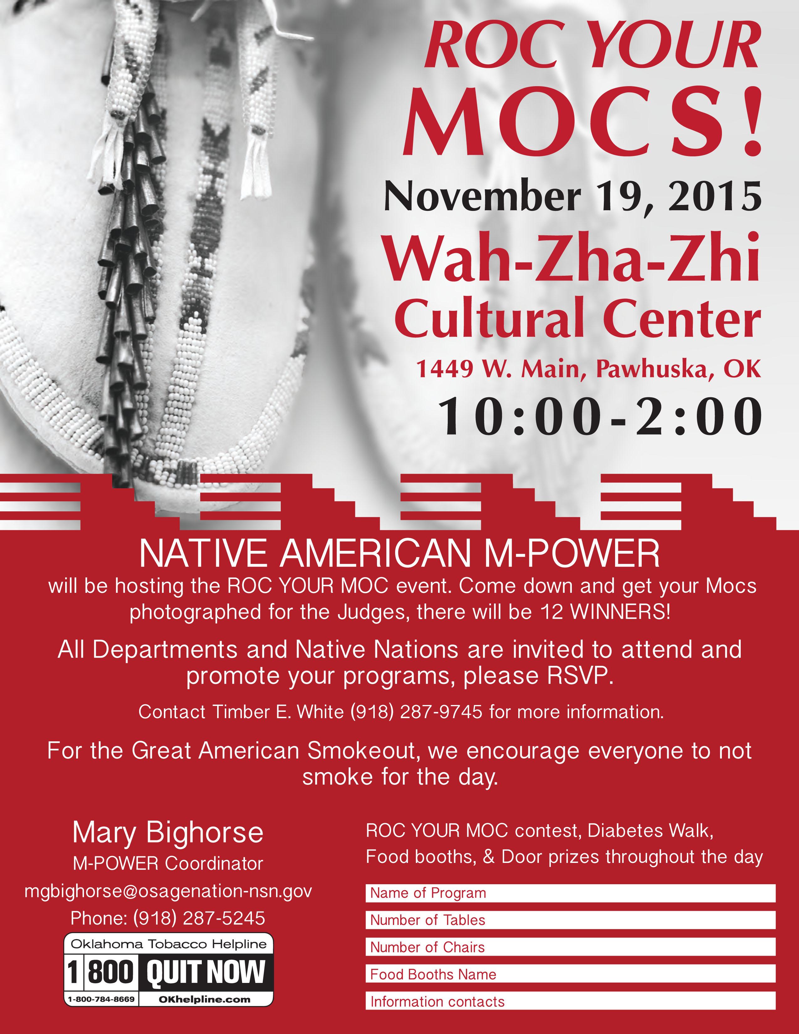 Roc Your Mocs Nov. 19 at the Wah-Zha-Zhi Cultural Center